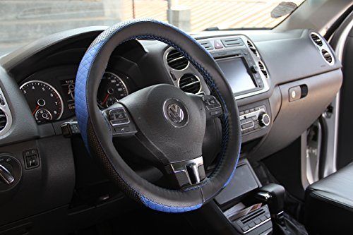 Circle Cool Black & Blue Racing Style PVC Leather Steering Wheel Cover Wrap w/ Needle & Thread 14