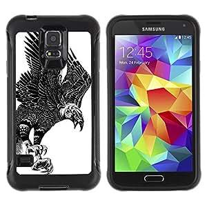 ZAKO Cases / Samsung Galaxy S5 SM-G900 / Black & White Eagle / Robusto Prueba de choques Caso Billetera cubierta Shell Armor Funda Case Cover Slim Armor