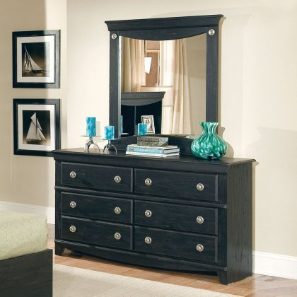 Standard Furniture 50409A Carlsbad Dresser with Coordiating Mirror and 6 Pullout Storage Drawers in by Standard Furniture
