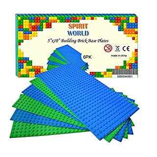 """Base Plates 5""""x10"""" Variety Baseplates for Brick Block Building Compatible all Major Brands Blue and Green Baseboard With Pin-hole (6-Pack)"""