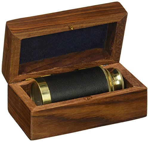 6″ Handheld Brass Telescope with Wooden Box – Pirate Navigation Clear Wooden Box