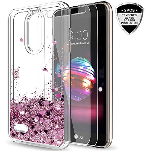 LG K30/Harmony 2/Phoenix Plus/Premier Pro LTE Case with Tempered Glass Screen Protector [2 Pack] for Girls Women,LeYi Glitter Bling Liquid Clear TPU Protective Phone Case for LG K10 2018 ZX Rose Gold