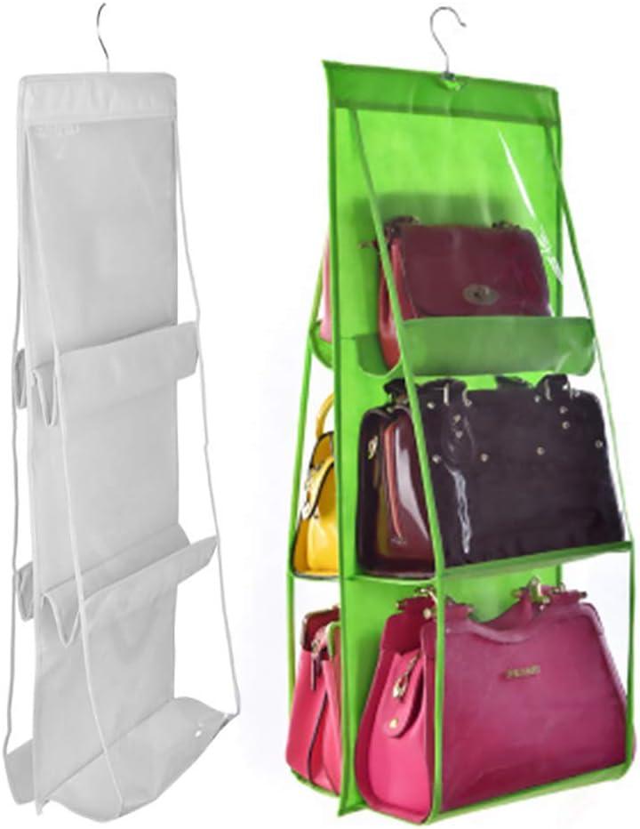 Luck Dawn Hanging Handbag Purse Organizer - Transparent Dust-Proof Wardrobe Closet Storage Bag for Clutch with 6 Larger Pockets (Green)
