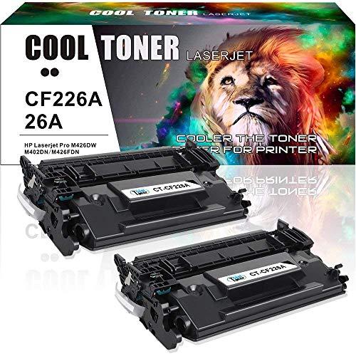 Cool Toner 2PK Compatible for HP 26A CF226A 26X CF226X M426fdw M402n Toner Cartridge for HP Laserjet Pro m402dn M402n M426fdw M402dw M426 HP Laserjet Pro MFP M426fdw M426dw M426fdn Toner Printer Ink