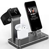 OLEBR Apple Watch Stand Aluminum Apple Watch Charging Stand AirPods Stand Charging Docks Holder for Apple Watch Series 3/2/1/ AirPods/ iPhone X/8/8Plus/7/7 Plus /6S /6S Plus/ iPad-Space Gray