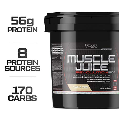 - Ultimate Nutrition Muscle Juice Revolution Weight and Muscle Gainer Protein Powder with Egg Protein, Micellar Casein, and Maltodextrin, Vanilla, 11.1 Pounds