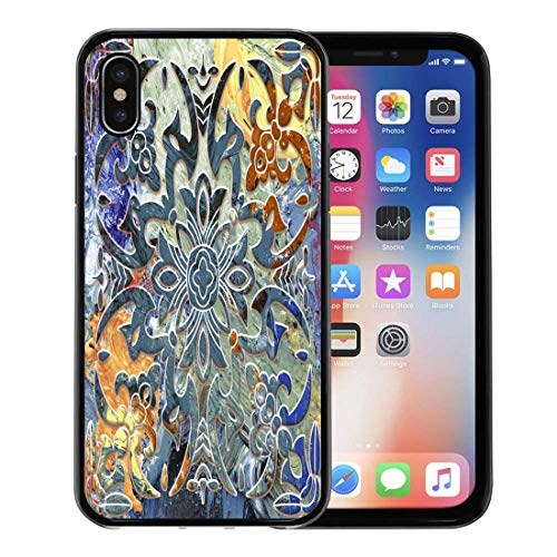 Emvency Phone Case for Apple iPhone Xs Case/iPhone X Case,Pattern Carving Digital Floral Effect Tulip Abstract Alabaster Blank Soft Rubber Border Decorative, - Carving Alabaster