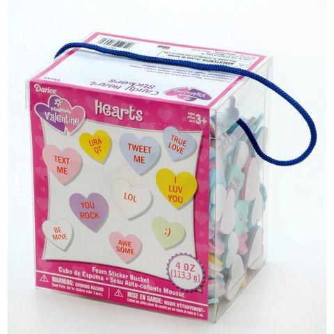 ArtVerse Foam Sticker Bucket Conversation Hearts-4 oz (1 Pack), None -