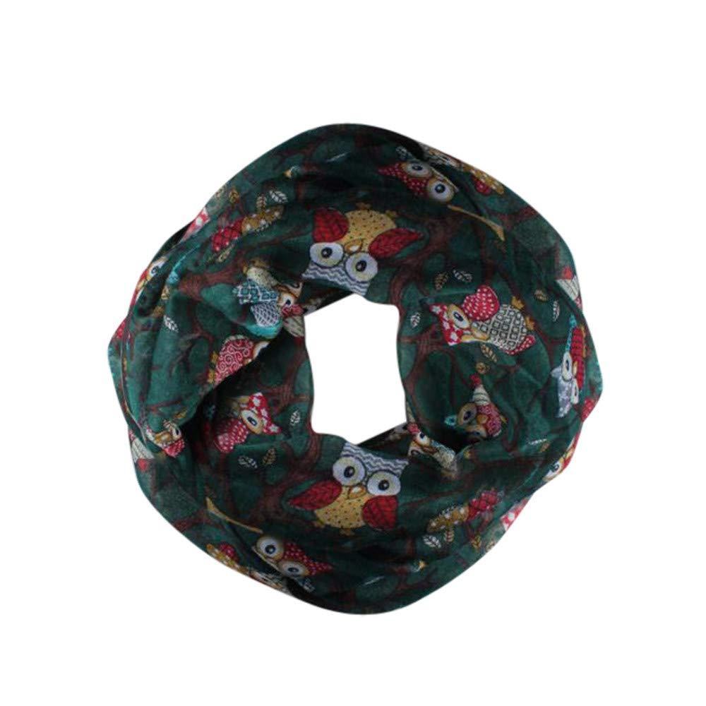 Women Owl Print Infinity Scarf Lightweight Chiffon Long Scarf Shawl Wrap Sheer Voile Wraps Scarves