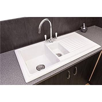 White Ceramic Kitchen Sink - Interior Design 3d •