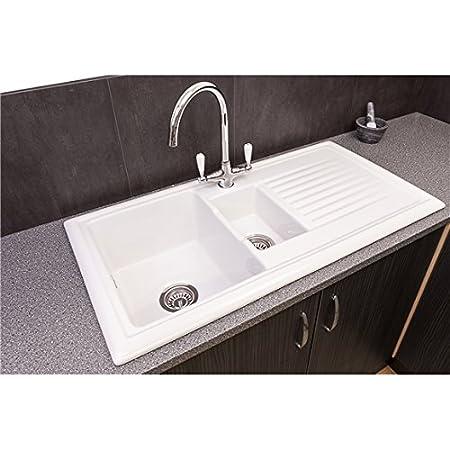 Reginox RL301CW 1.5 Bowl White Ceramic Reversible Kitchen Sink ...