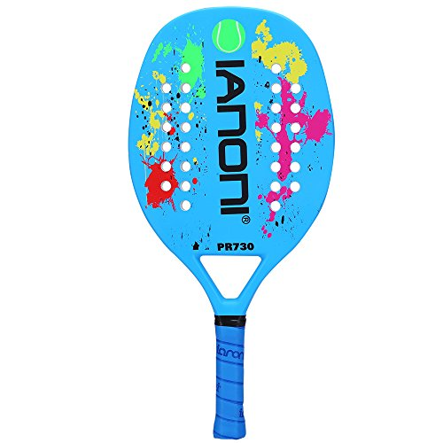 ianoni Beach Tennis Racket Carbon Paddle Fiber Grit Face with EVA Memory Foam Core Beach Tennis Raquet (Blue)