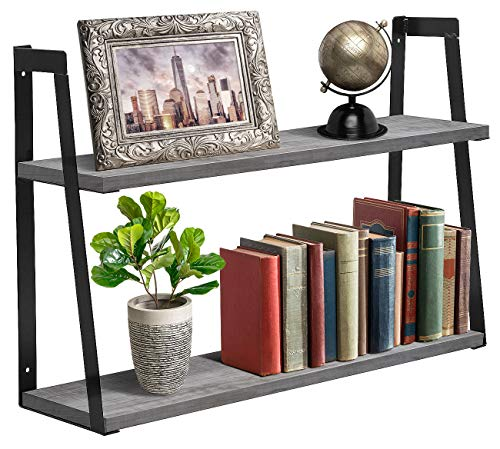 - Sorbus 2-Tier Wooden Floating Shelf with Metal Brackets - Wall Mounted Rustic Industrial Wood Storage Wall Shelves for Home Décor in Living Room, Bathroom, Entryway (2-Tier Wood Shelf - Grey White)