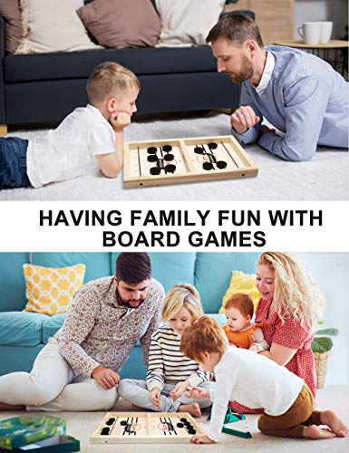 XINKAITE Fast Sling Puck Game, Desktop Battle 2 in 1 Wooden Hockey Game Sling Puck- Interestive Sling Puck Game - Fable Game Toys for Adults Parent-Child-(Small)