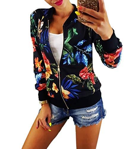 Primavera Moda E Tops Elegante Manica Nero Autunno Giubbotto Giacche Cime Floreali Con Outerwear Giacca Lunga Cappotto Donna Coat Bomber Jacket Zip Casual rrxqdX