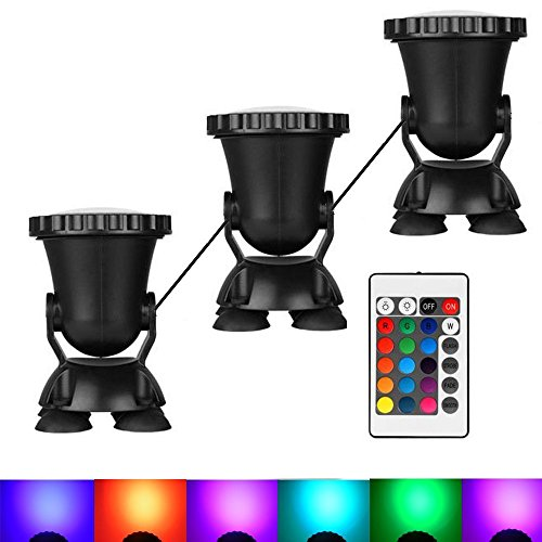AomeTech Set of 3 Remote Control 36 LED RGB Underwater led lights Submersible Lamp Multi color Spotlight Decoration for Aquarium, Fish tank, Swimming Pool, Garden, Pond, - Fountain Set