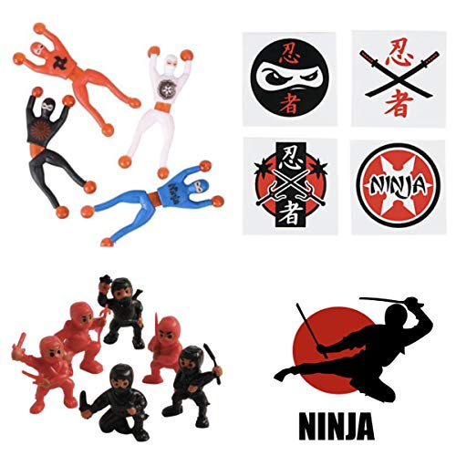 Just4Fun NINJA Warrior PARTY Favors – 36 Tattoos – 12 Figures – 12 WALL Crawlers & 24 Stickers – MARTIAL ARTS – Karate…