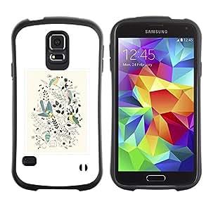 """Pulsar iFace Series Tpu silicona Carcasa Funda Case para Samsung Galaxy S5 , Diseño floral de primavera blanca minimalistas Birds"""""""