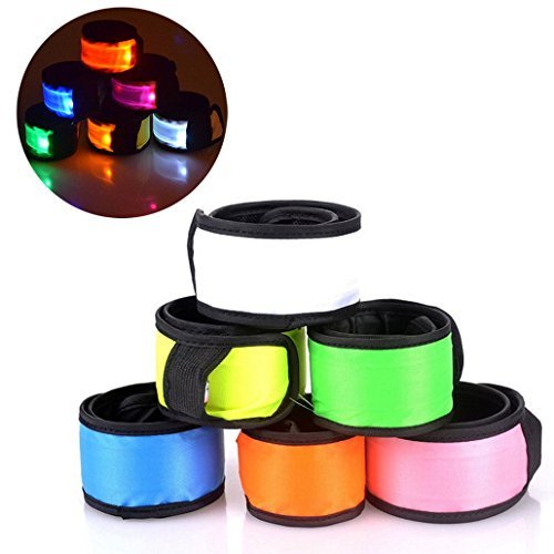 esonstyle Pack of 6 LED Light Up Band Slap Bracelets Night Safety Wrist Band for Cycling Walking Running Concert Camping Outdoor Sports (6 pack)
