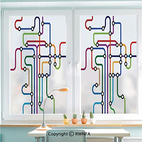 Window Film Door Sticker Colorful Abstract Subway Map Lines and Dots Navigation Guide Modern Underground Railway Decorative Glass Film Both Suitable for Home and Office,22.8 x 35.4inch,Multicolor
