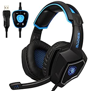 Sades Spirit Wolf USB 7.1 Surround Sound Over-Ear Gaming Headset Headphones with Microphone Volume Control LED Lights for PC (Black Blue)