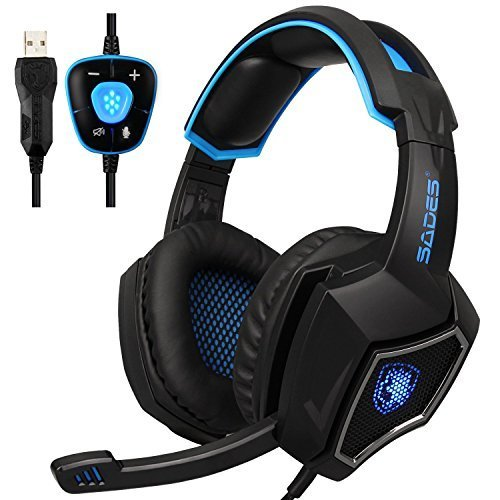SADES Spirit Wolf USB 7.1 Gaming Headset with Mic Volume Control LED Lights for PC(Black Blue)