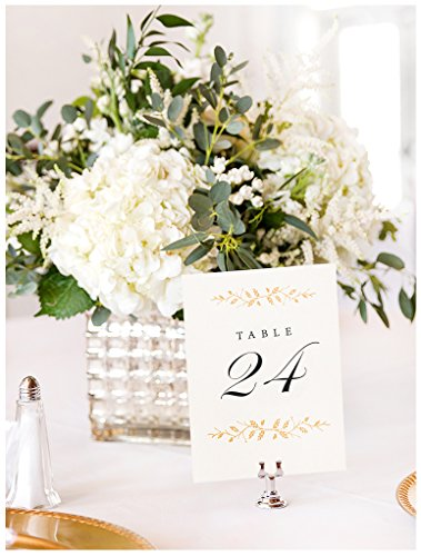 Wedding Table Numbers | Elegant 1-24 Double Sided Pearl White and Gold Table Numbers on Heavy Cardstock with Pearlescent Finish | Includes Mr and Mrs Table Cards and 2 Reserved Table Cards -
