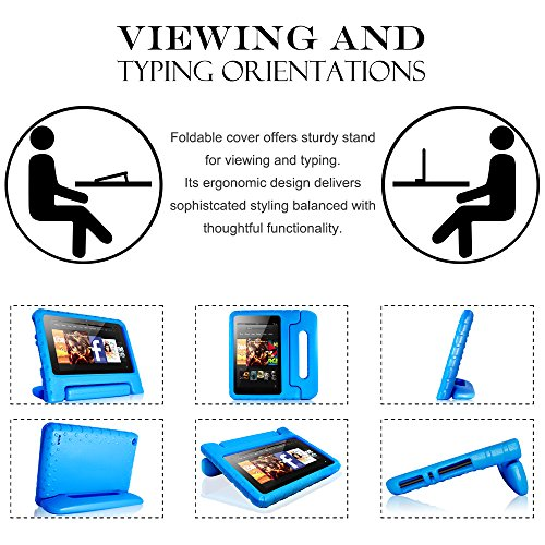 AFUNTA Tablet 7 2015 Case,Light Weight Shock Proof Convertible Handle Stand EVA Protective Kids Case for 7 inch Display Tablet (5th Generation - 2015 Release Only)-Blue by AFUNTA (Image #7)'