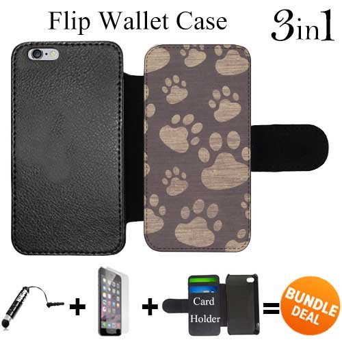 Paw Prints Wallet (Flip Wallet Case for iPhone 6 Plus/6S Plus (Paw Prints ) with 3 Card Holders   Shock Protection   Lightweight   Includes HD Tempered Glass and Stylus Pen by Innosub)