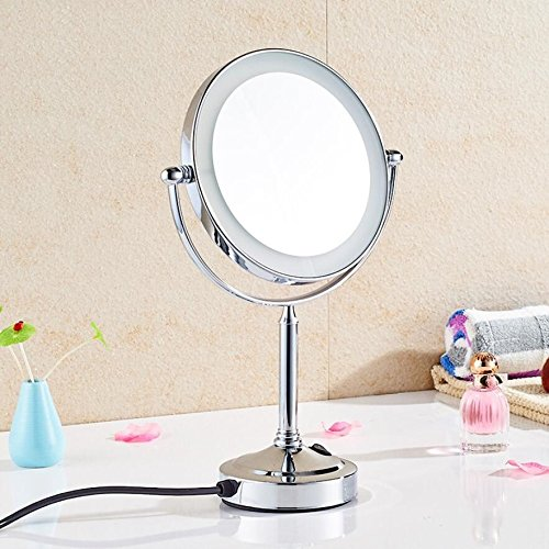 LIUJIANGLONG Bathroom Tabletop 8 inch Double-Sided Flip Vanity Mirror with LED-lighted ring 1x/3x magnification Polished Chrome Finish,silver