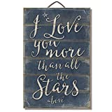 Cheap Highland Graphics I Love You More than all the Stars Above 12″ x 18″ Wood Slatted Sign