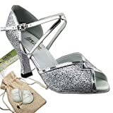 Women's Ballroom Dance Shoes Tango Wedding Salsa Dance Shoes Silver Sparklenet 2721EB Comfortable - Very Fine 3'' Heel 8 M US [Bundle of 5]