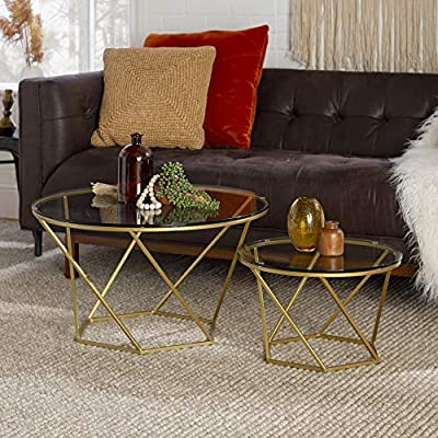 Gold We Furniture Geometric Glass Nesting Coffee Tables Gold