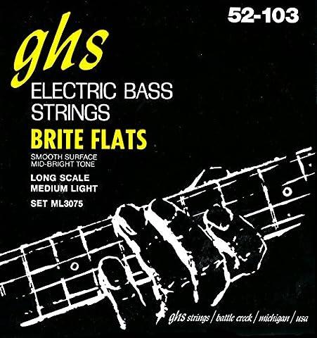 GHS ML3075 Brite Flats Flatwound Electric Bass Strings (Flat Bass Guitar Strings)