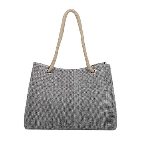 L-COOL Large High Capacity Straw Nature Handbags Flax Grass Tote Shoulder Bag Beach Tote Bags For Women (Gray)