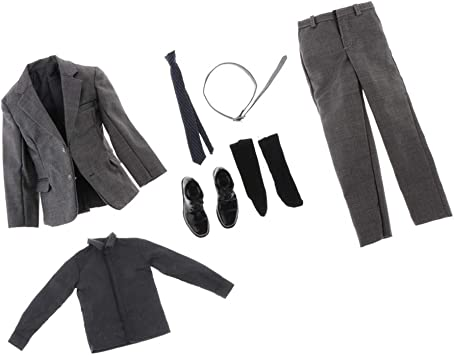 NON 1/6 Trajes Grises Conjunto Pantalones Ropa Camisa Cinturón ...