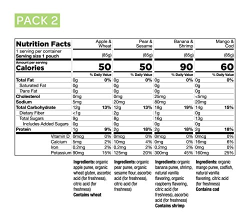 Early Allergen Introduction Baby Food: Inspired Start Pack 2, 3 oz. (Pack of 8 baby food pouches) - Non-GMO, include wheat, sesame, shrimp and cod in baby's diet by Inspired Start (Image #2)