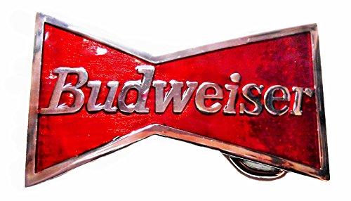 - Budweiser King of Beers Red Metal Belt Buckle Enamel Finish