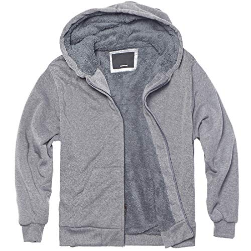 Sherpa Lined Boys Hoodie Full Zip Fleece Warm Youth Big Long Sleeve Child Sweatshirts (8, Light Grey)