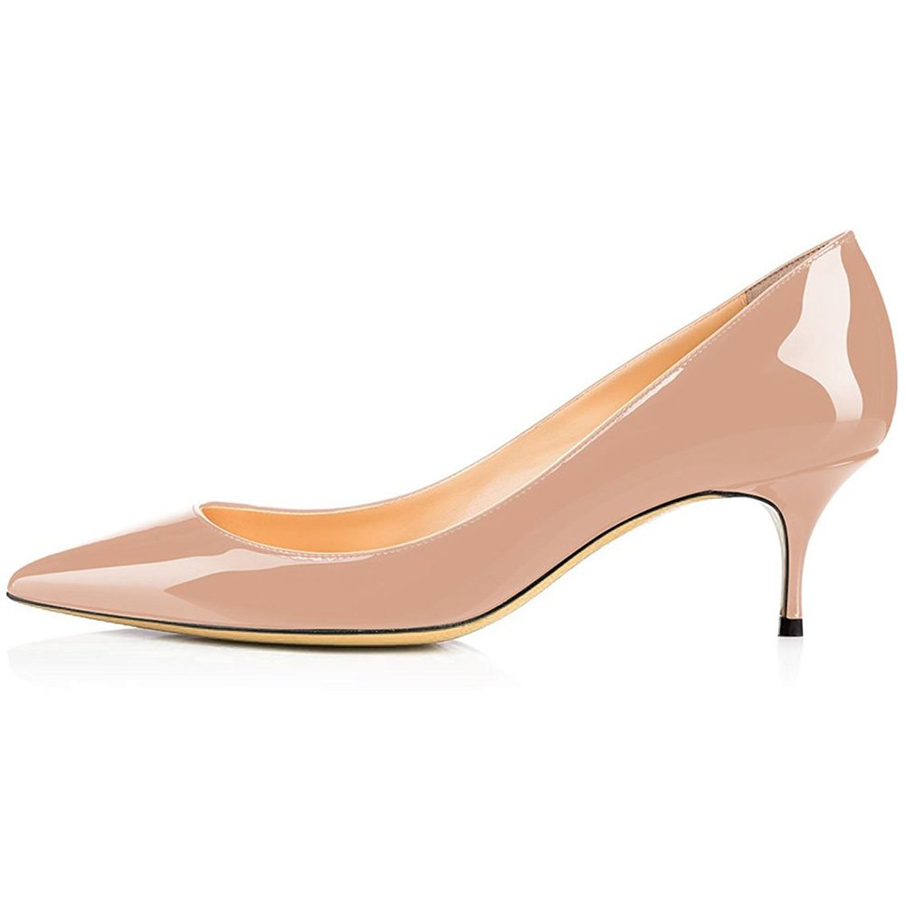 Kmeioo Pumps for Women, Women's Slip On Kitten Heels Pointed Toe Low Heels Office Pumps-Nude 5M