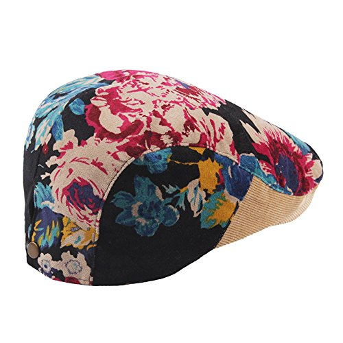 Cotton Vintage Corduroys (LIULIULIUUnisex Print Wind Velvet Corduroy Splice Beret Short Sleeve Casual Vintage Cap (Khaki))