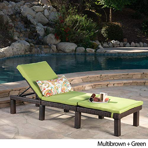 - Christopher Knight Home Jamaica Outdoor Chaise Lounge with Cushion by Lounge + Green Cushion
