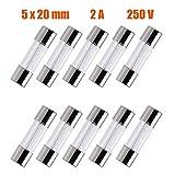SIXQJZML 10 Pack F2AL Fast-Blow Fuse 2A 250V Glass Fuses 0.2 x 0.78 Inch / 5 x 20 mm (2amp) (F2A)