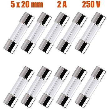 Pack of 10 pcs F2AL Fast-Blow Fuse 2A 250V Glass Fuses 5 x 20 mm