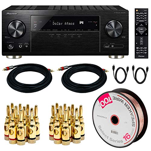 - Pioneer VSX-933 7.2-Channel Network AV Receiver w/Dolby Atmos with 100FT Select Series 16 AWG Speaker Wire, 2X Brass Speaker Banana Plugs (5-Pair), 2X 15FT Coaxial Audio/Video RCA Cable, 2X 6FT HDMI