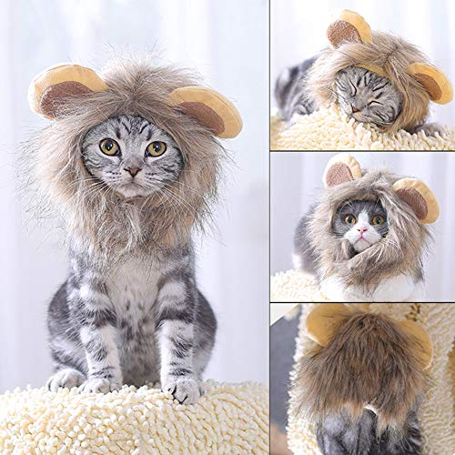 gu6uesa8n Funny Pet Halloween Clothes for Cat Dog Costume Cosplay Party Head Wear Adjustable Wig M]()