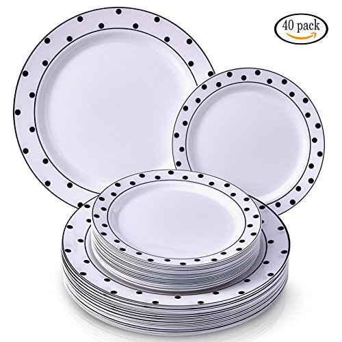 Party Disposable 40 pc Dinnerware Set | 20 Dinner Plates and 20 Salad or Dessert Plates | Heavyweight Plastic Dishes | Elegant Fine China Look | for Upscale Wedding and Dining (Dots– Black/White)