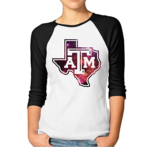 MBMH Women's Texas A&M University Raglan Baseball T Shirt Black Size S (Texas A&m Reveille Costume)