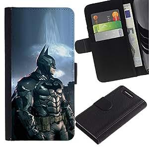 "A-type (Bat Superhéroe"") Colorida Impresión Funda Cuero Monedero Caja Bolsa Cubierta Caja Piel Card Slots Para Sony Xperia Z1 Compact / Z1 Mini (Not Z1) D5503"
