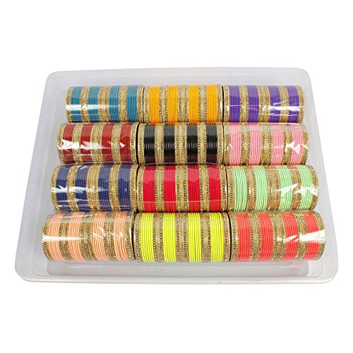 MUCH-MORE Gorgeous Multi Color Bangles Box 12 Color Partywear Bangles Traditional Jewelry (51, 2.6)